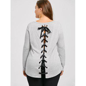 Plus Size Lace Up High Low T-shirt - GRAY XL