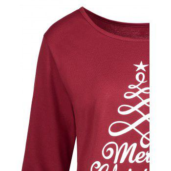Christmas Star Print High Low Plus Size T-shirt - WINE RED 5XL