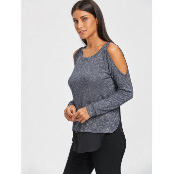 Chiffon Panel Cold Shoulder Tunic Sweater - GRAY 2XL