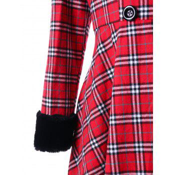 Plus Size Double Breasted Plaid Swing Coat - RED XL