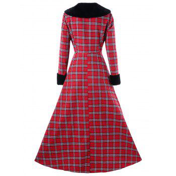 Plus Size Double Breasted Plaid Swing Coat - RED 5XL