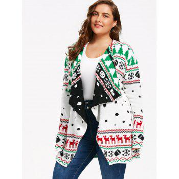 christmas plus size graphic tunic draped cardigan, white, xl in