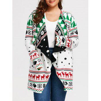 Christmas Plus Size Graphic Tunic Draped Cardigan