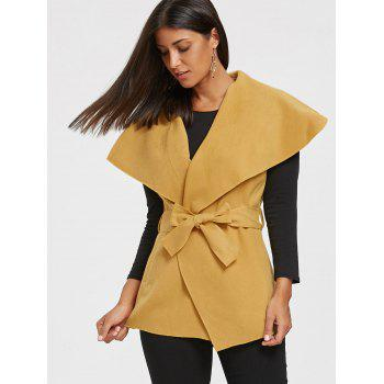 Tie Belt Waterfall Wasitcoat - YOLK YELLOW XL