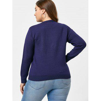 Pull col rond brodé grande taille - Bleu 5XL