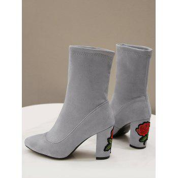 Flower Embroidery Chunky Heel Boots - GRAY 41