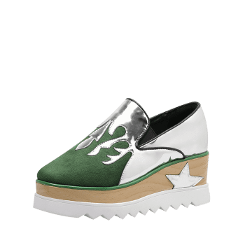 Patchwork Star Platform Shoes - GREEN 37