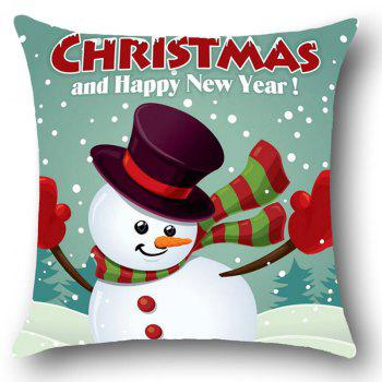 Happy New Year Christmas Snowman Linen Pillowcase - COLORFUL W18 INCH * L18 INCH