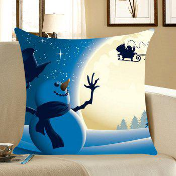 Christmas Moon Snowman Printed Linen Pillowcase - COLORFUL COLORFUL