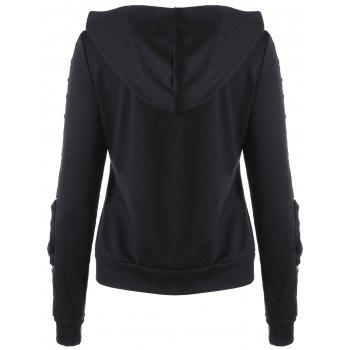 Zip Up Lace Up Hoodie - BLACK 2XL