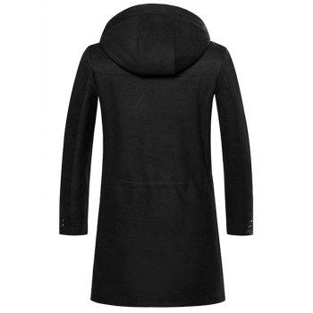Embroidered Zip Up Woolen Coat - BLACK 2XL