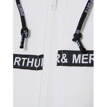 Zip Up Braid Embellished Lightweight Jacket - WHITE L