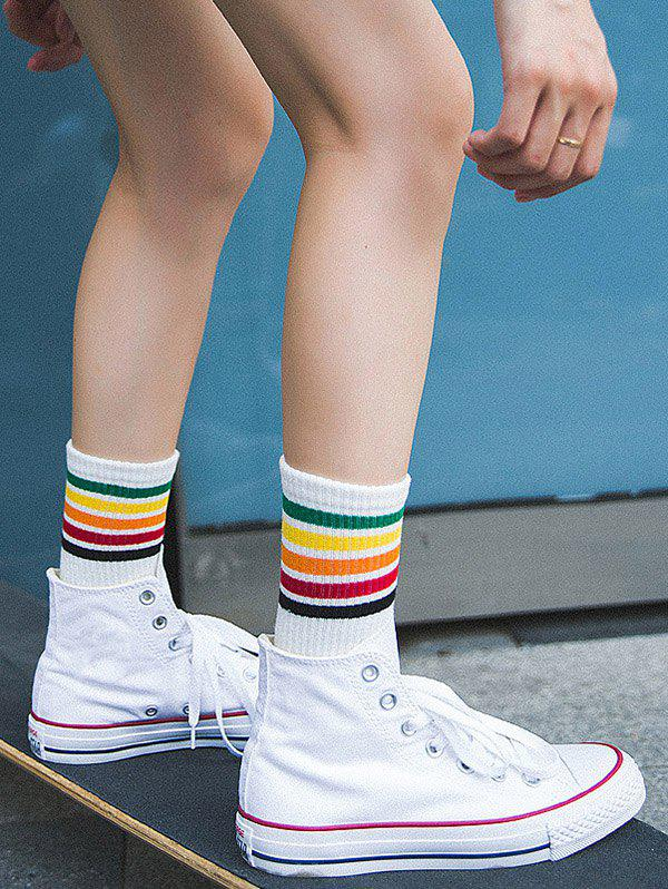 Colorful Stripe Tube Socks - WHITE
