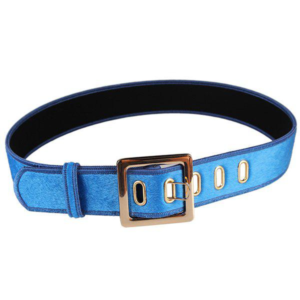Metal Buckle Faux Suede Waist Belt - BLUE