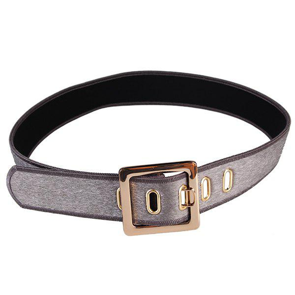 Metal Buckle Faux Suede Waist Belt - GRAY