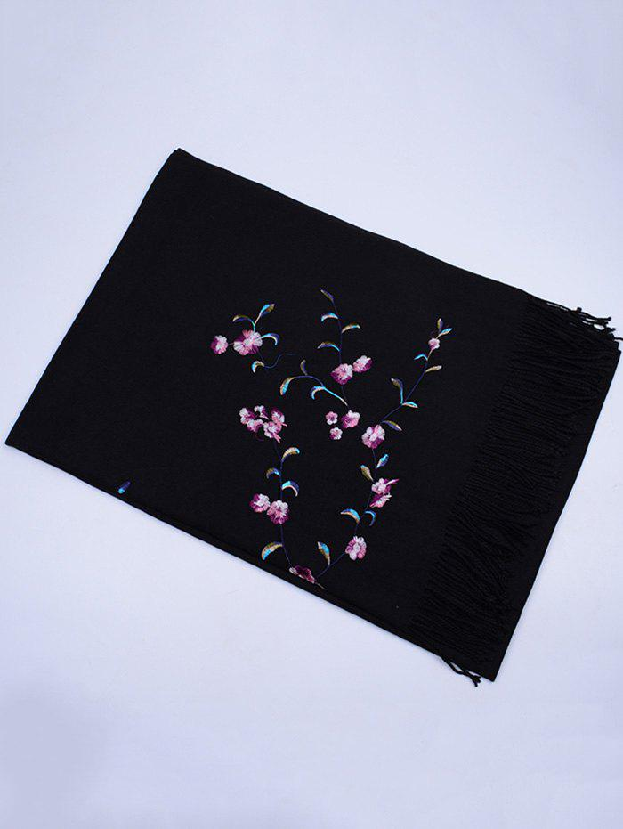 Floral Embroidery Faux Wool Long Scarf - BLACK