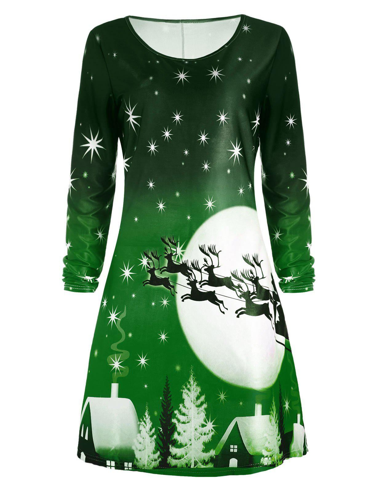 Christmas Deer Long Sleeve Dress - GREEN S