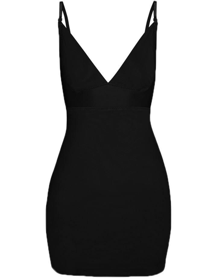 Plunge Convertible Strap Slip Corset Dress - BLACK 2XL