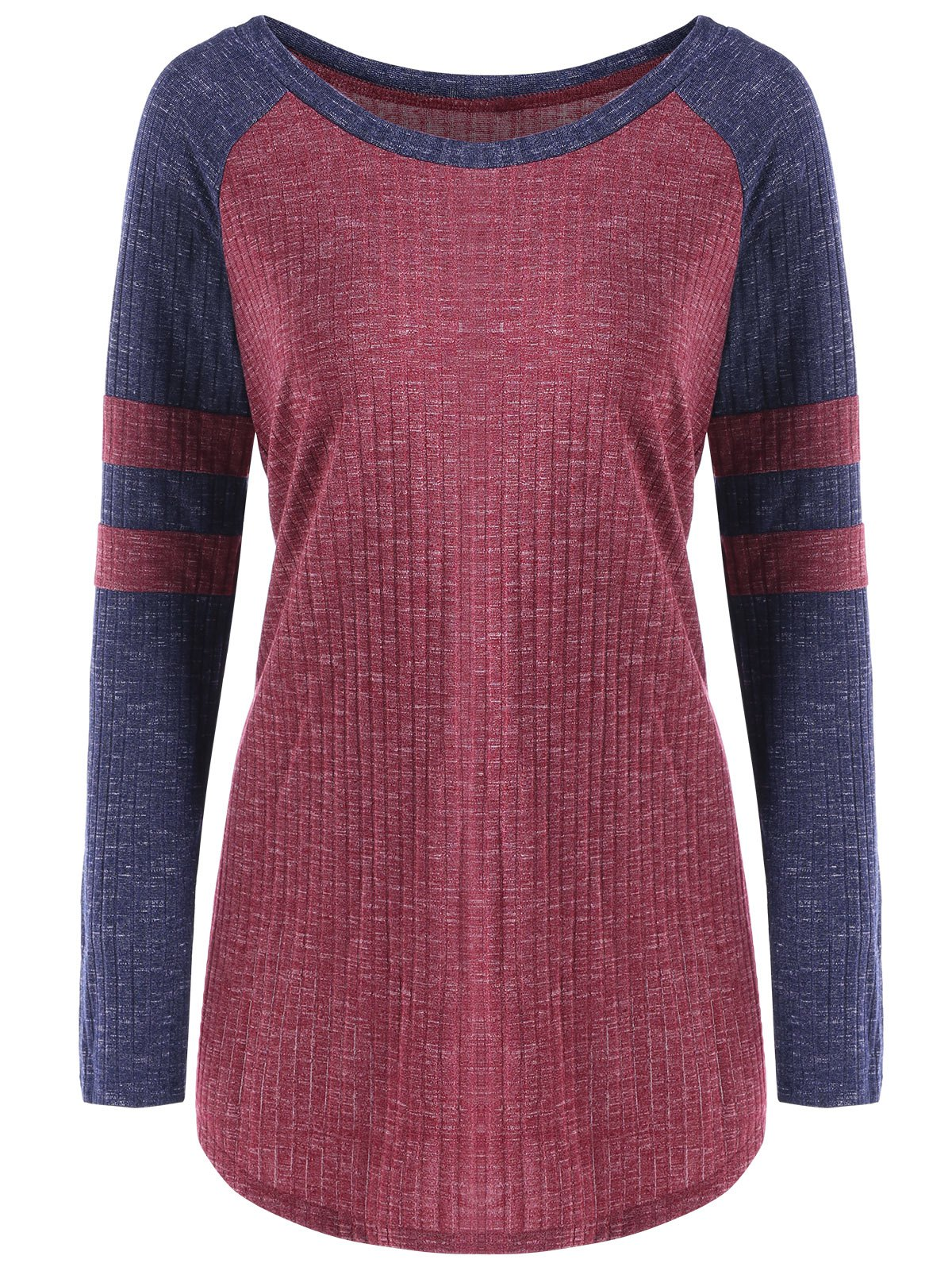 Ribbed Color Block Raglan Sleeve Top ribbed color block sweater