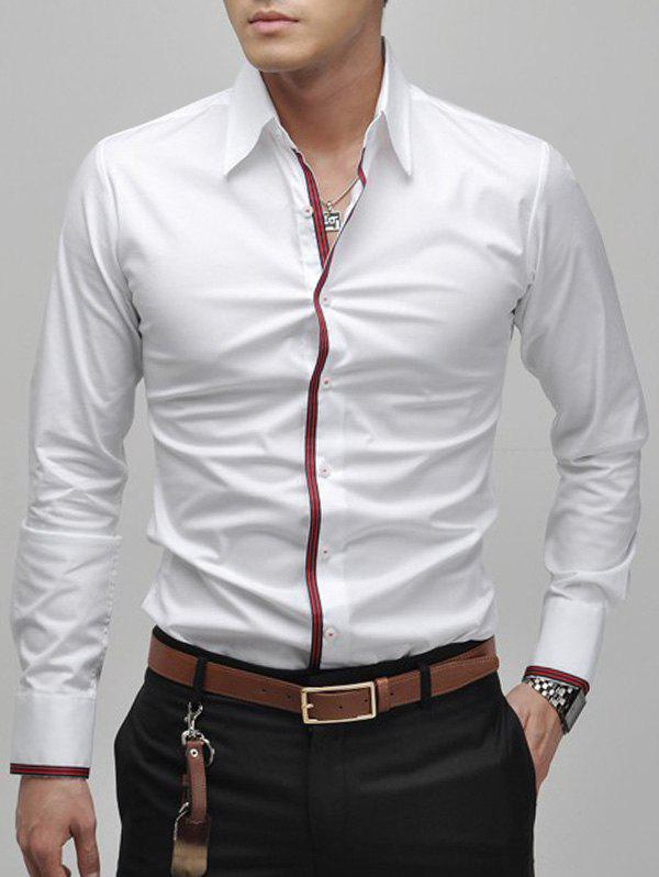 Slimming Lapel Striped Hem Men's Long Sleeve Cotton Blend Casual Shirt - WHITE M