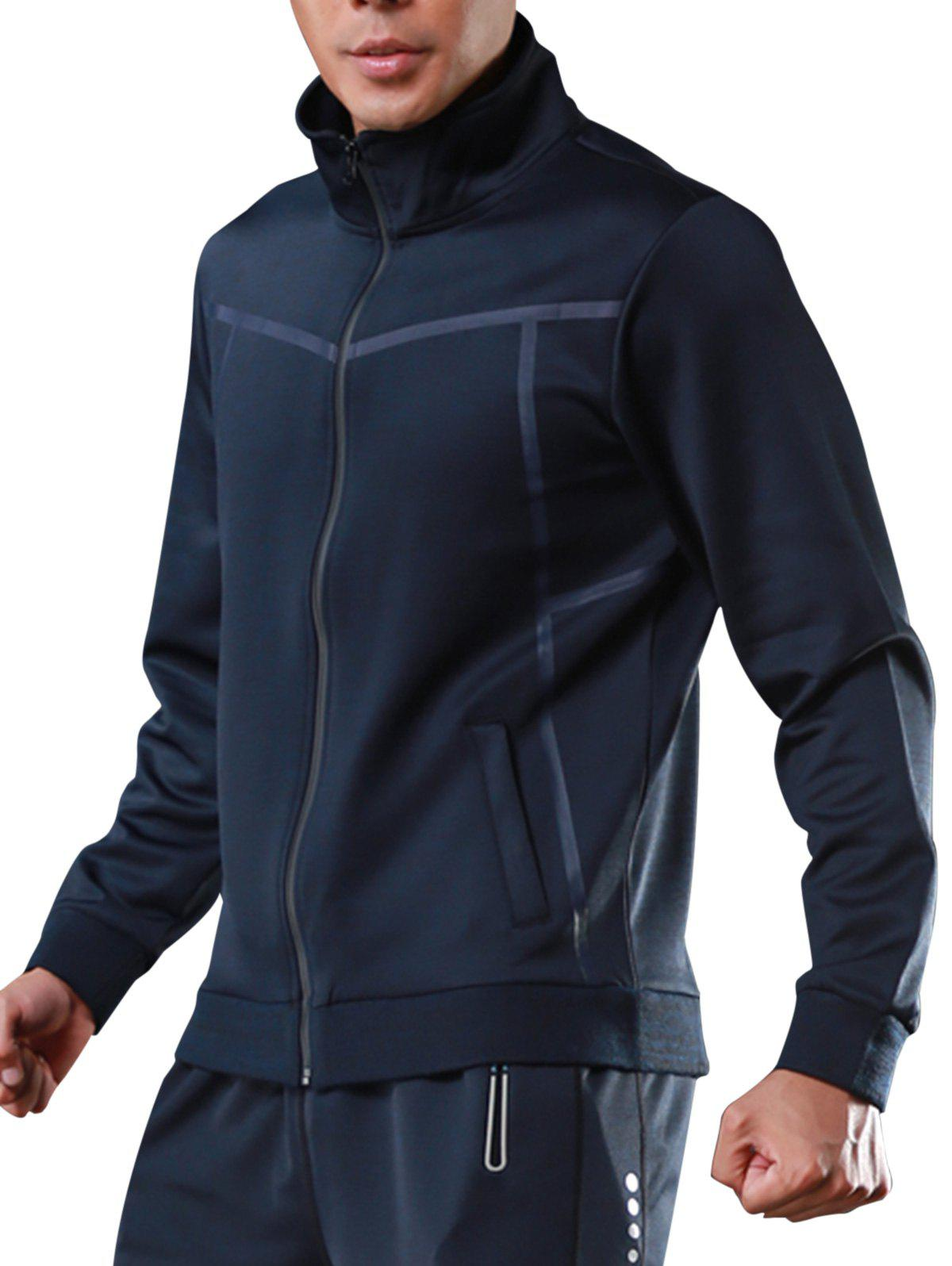 Zip Up Stand Collar Veste de survêtement de sport - Bleu L