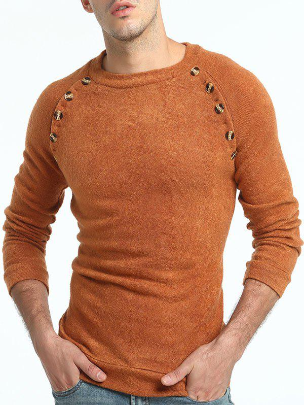 Button Embellished Crew Neck Raglan Sleeve Sweater ribbed raglan sleeve crew neck graphic sweater