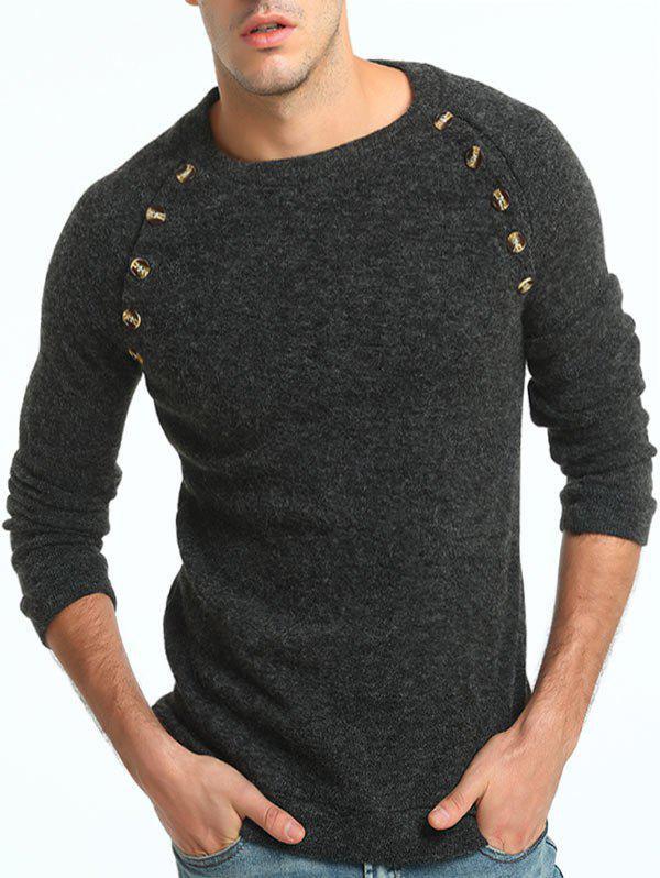 Button Embellished Crew Neck Raglan Sleeve Sweater crew neck button embellished tee