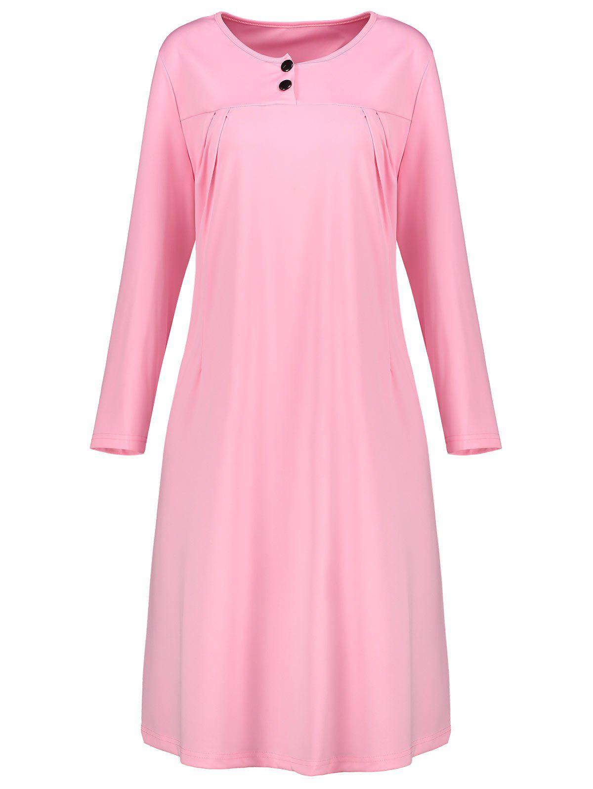 Plus Size Button Embellish Long Sleeve Smock Dress все цены