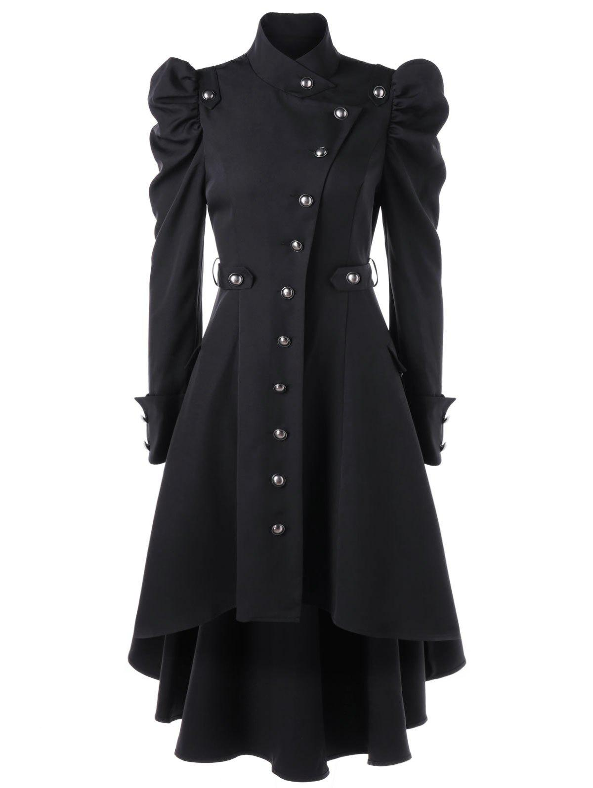 Puff Shoulder Button Up Dip Hem Trench Coat - BLACK L