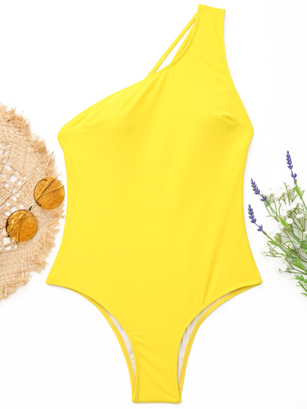 One-Shoulder Strappy One-Piece Swimwear - YELLOW S