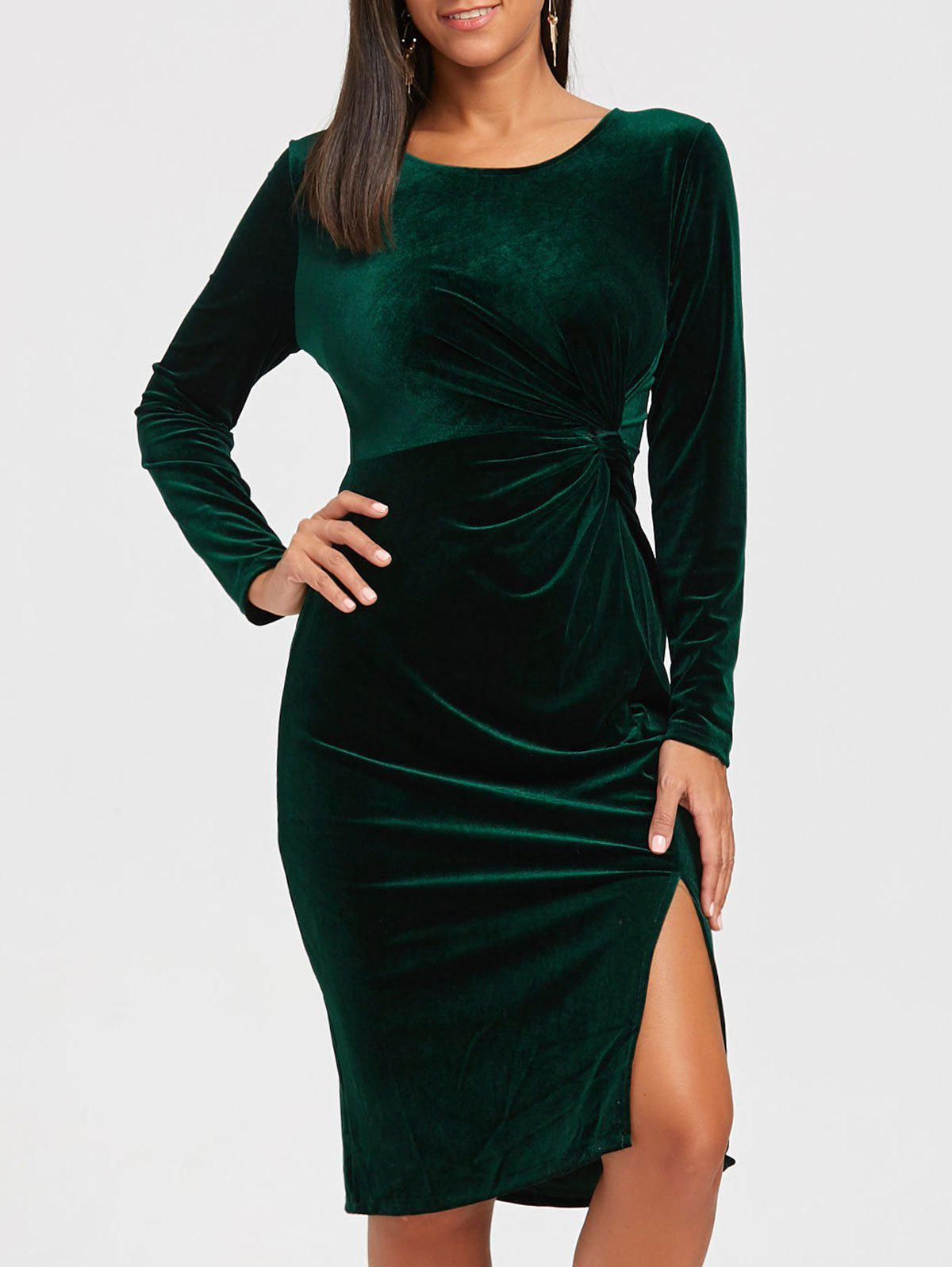 Front Knot High Slit Velvet Midi Dress maxi front slit crushed velvet tank dress