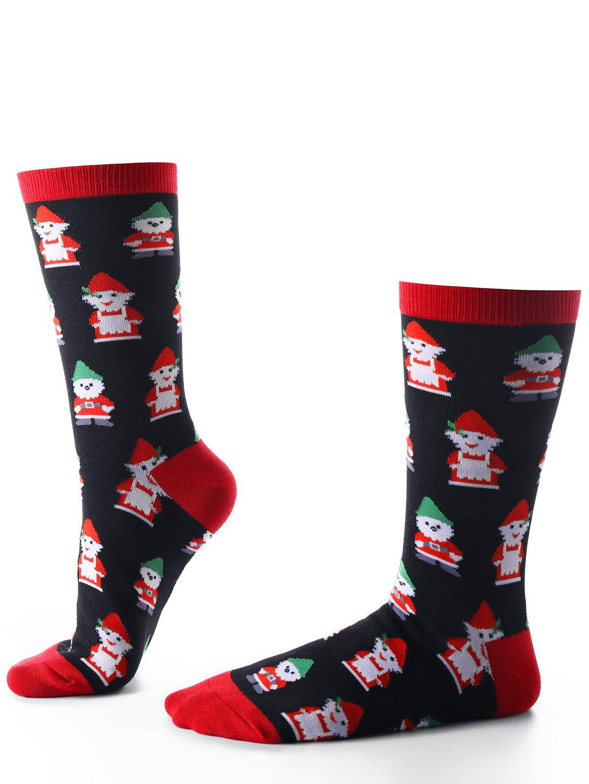 Santa Claus Christmas Socks - BLACK