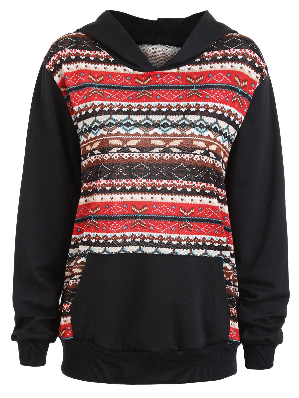 Plus Size Fair Isle Panel Kangaroo Pocket Hoodie - BLACK 5XL