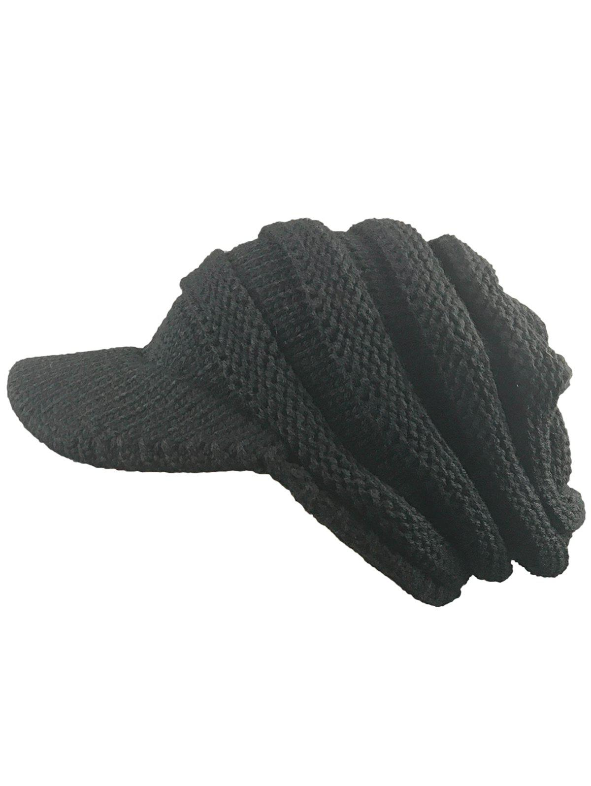 Outdoor Striped Pattern Ribbed Knit Beanie Hat - BLACK