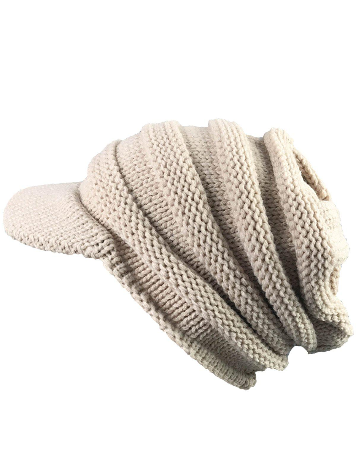 Outdoor Striped Pattern Ribbed Knit Beanie Hat hot winter beanie knit crochet ski hat plicate baggy oversized slouch unisex cap