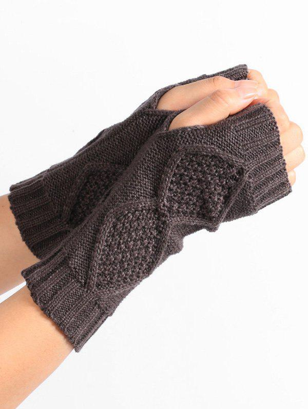 Rhombus Stripe Crochet Exposed Finger Knitted Gloves - DEEP GRAY