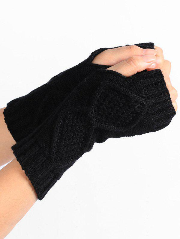 Rhombus Stripe Crochet Exposed Finger Knitted Gloves - BLACK