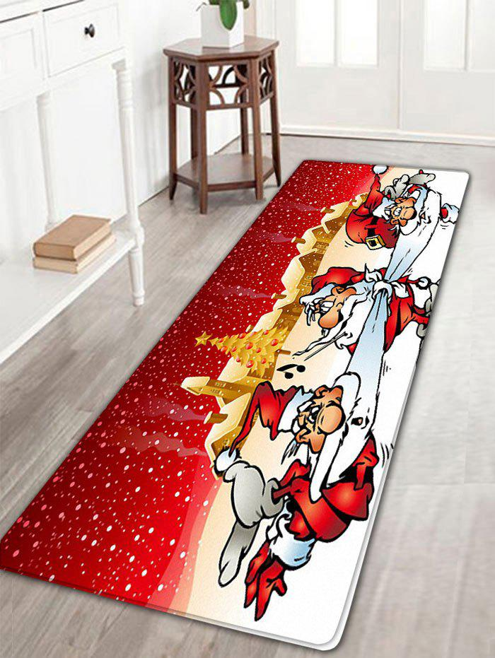 Three Santa Claus Printed Flannel Nonslip Christmas Bath Mat three 100ml