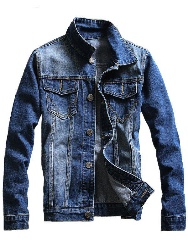 Chest Pocket Buttoned Denim Jacket - BLUE 2XL