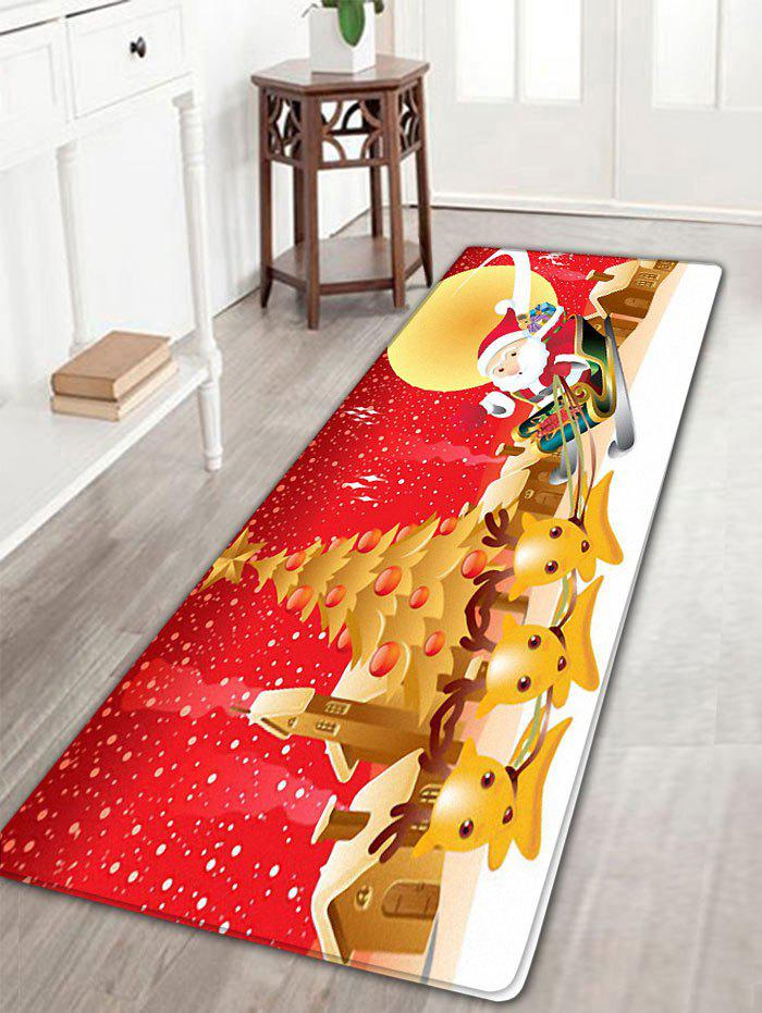 Christmas Sled Santa Claus Deer Moon Nonslip Bath Rug