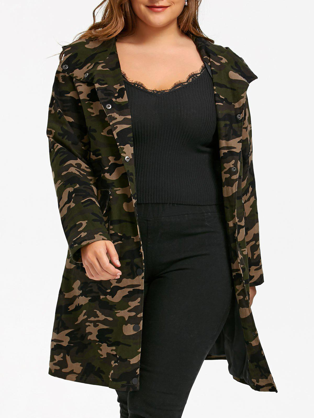 Plus Size Flap Pockets Hooded Camouflage Coat plus size flap pockets hooded camouflage coat
