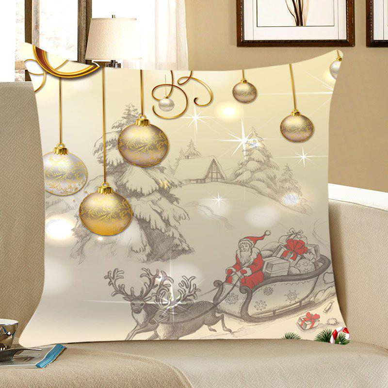 Christmas Balls Patterned Linen Throw Pillow Case christmas ribbons gift cushion throw pillow case