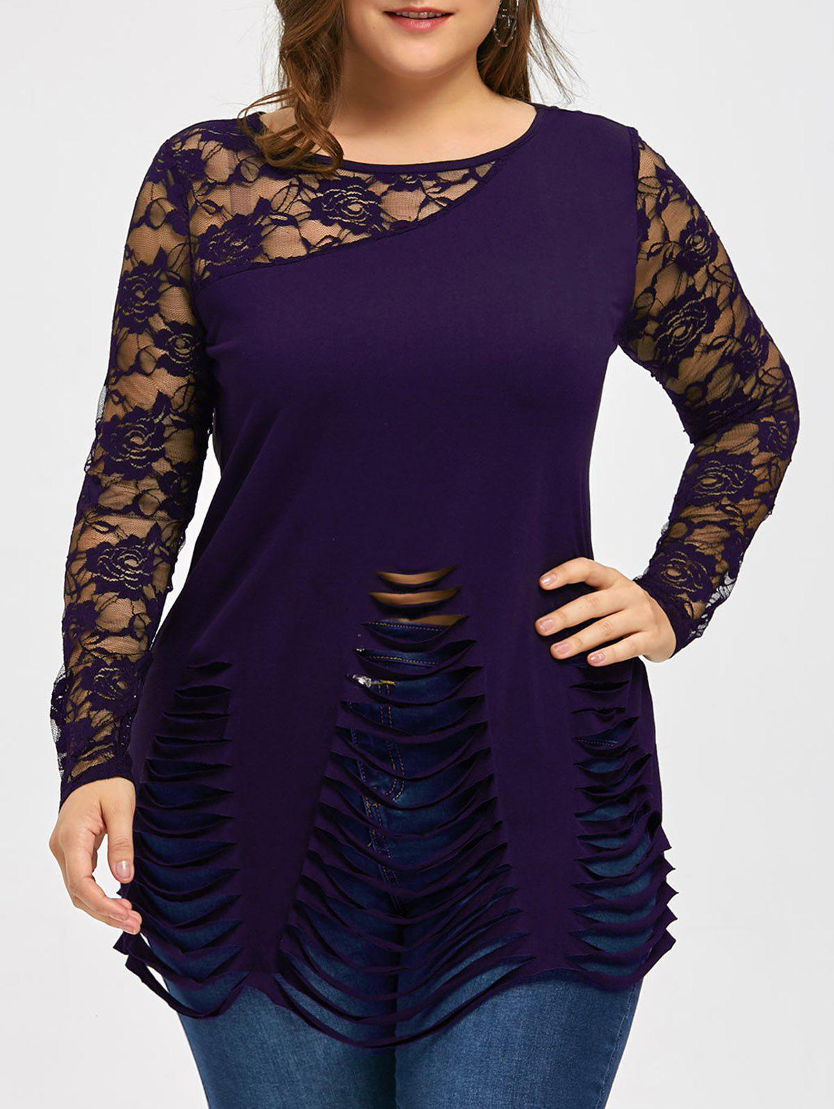 Plus Size Lace Trim Ripped Top - DEEP PURPLE 4XL