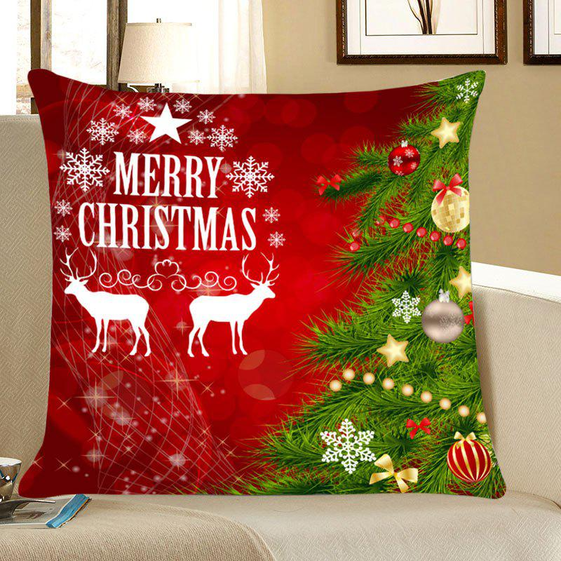 Christmas Tree Elks Patterned Decorative Throw Pillow Case