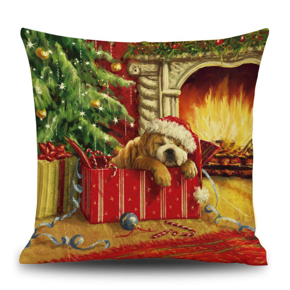 Christmas Fireplace Dog Print Linen Sofa Pillowcase snowy christmas gifts print linen sofa pillowcase