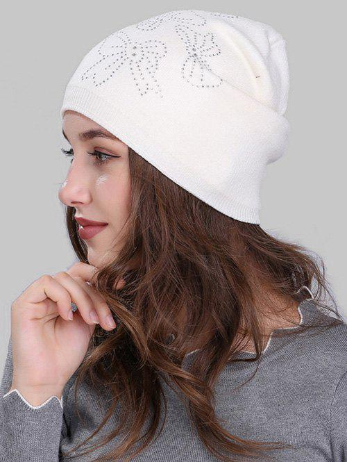 Butterfly Shape Rhinestone Embellished Knitted Beanie outdoor pineapple shape sequins knitted beanie