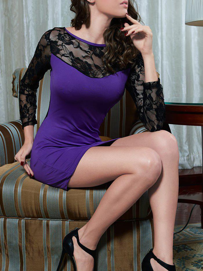Lace Sheer Sleeve Bodycon Dress - PURPLE ONE SIZE