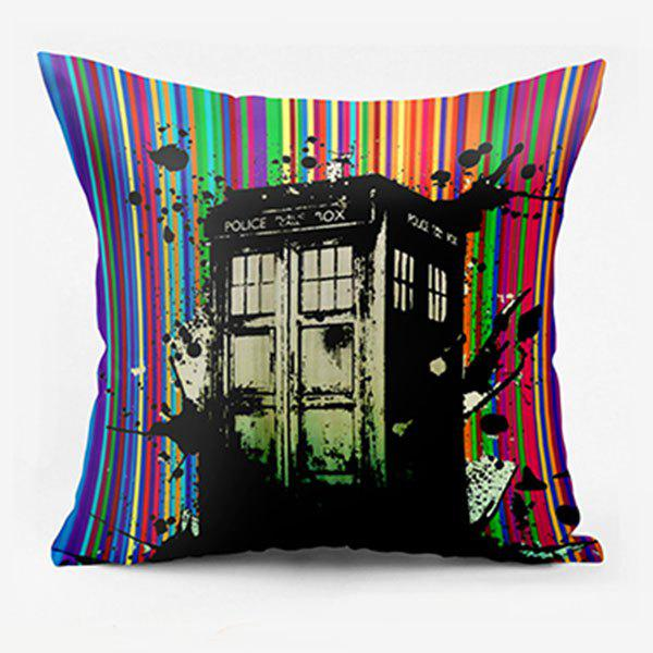 Striped Police Box Double Sided Print Decorative Pillowcase police pl 12743ls 02m