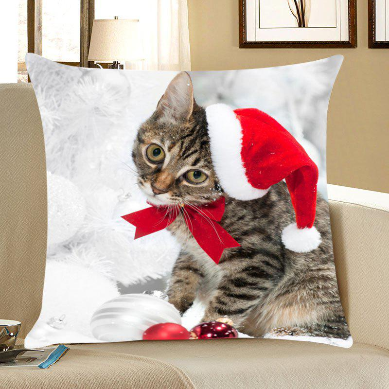 Christmas Kitten Printing Linen Pillow Case - RED W12 INCH * L20 INCH