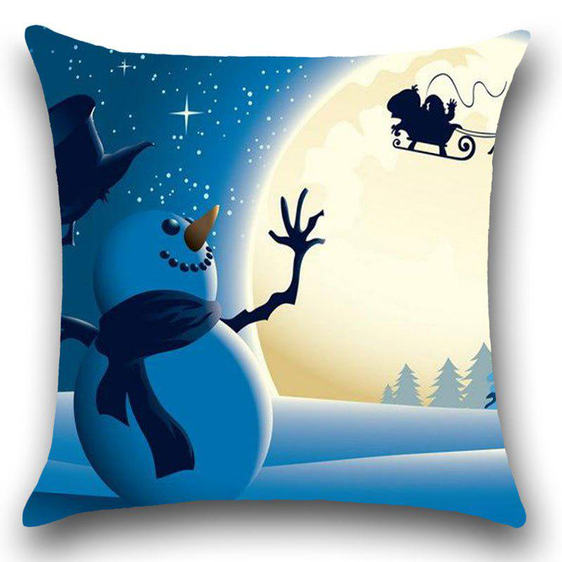 Christmas Moon Snowman Printed Linen Pillowcase - COLORFUL W12 INCH * L20 INCH